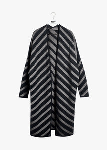 STRIPE LONG CARDIGAN, PUFFY STRIPE, SALT LIQUORICE