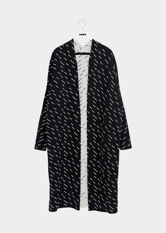 LONG CARDIGAN, Windy Day, Black/Cream