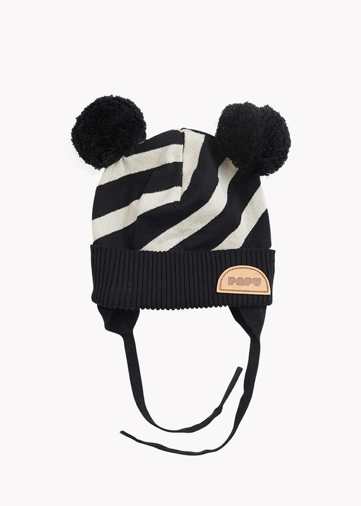 STRIPE BABY BEANIE, Black/Silent Grey