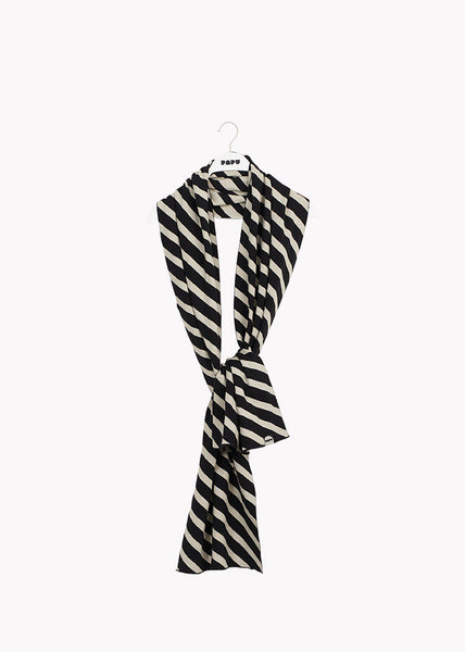 OBLONG SCARF, Stripe, Black/Silent Grey
