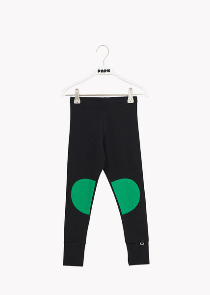 PATCH LEGGINGS, Black/Loud Green