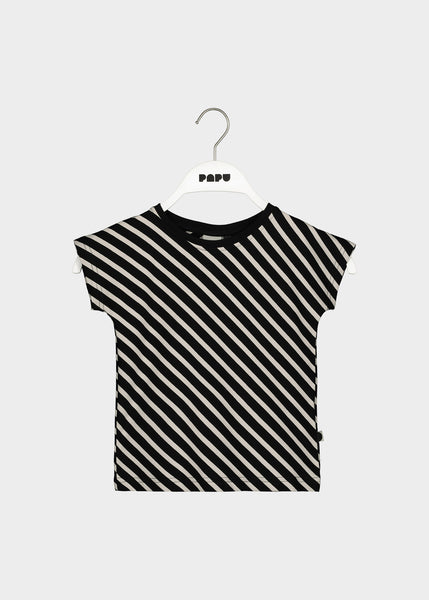 STRIPE T-TOP, Black/Sand
