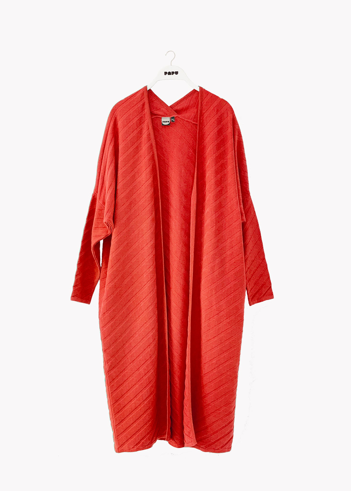 LONG CARDIGAN, Structure Knit, Noisy Red, Women
