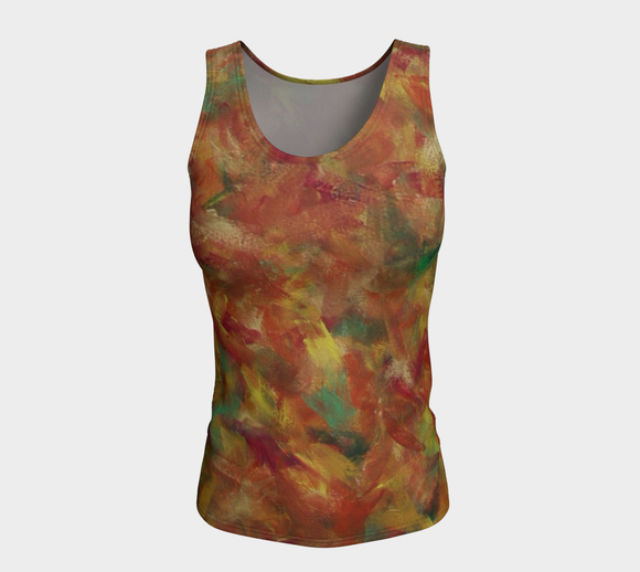 Autumn Leaves Fitted Tank Top (Long)