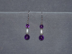 Amethyst and Freshwater Pearl Earrings