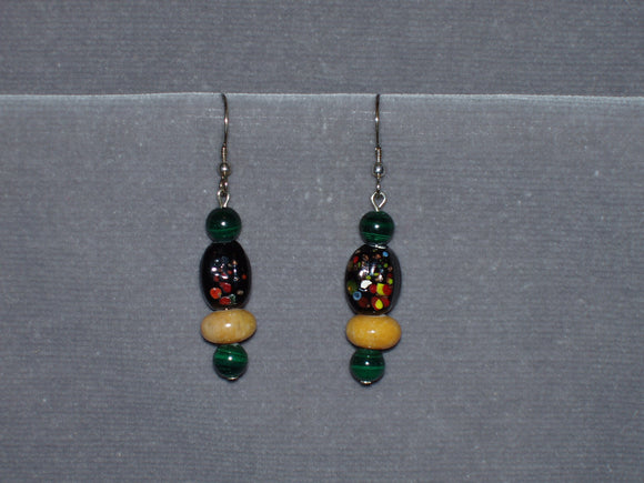 Malachite and Aragonite Earrings