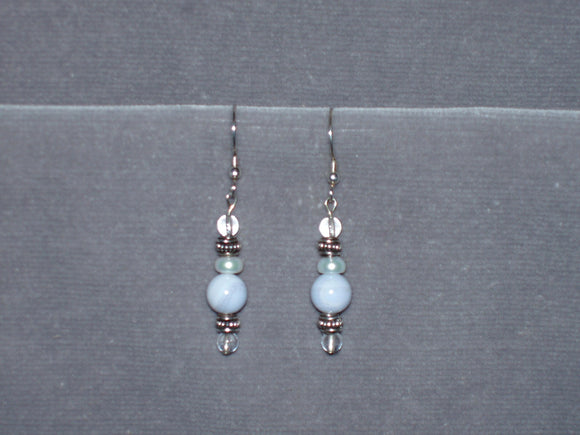 Blue Lace and Pearls Earrings