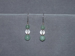 Green Aventurine and Quartz Earrings