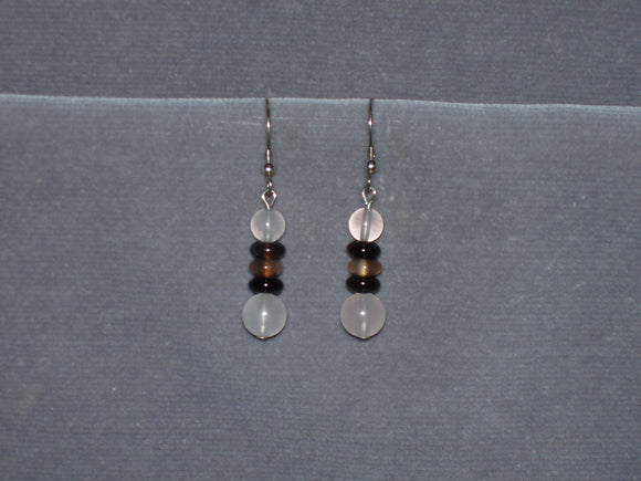 Rose Quartz and Black Agate Earrings