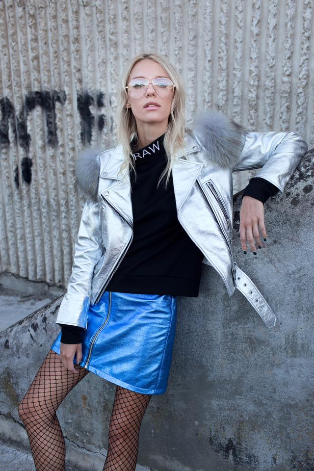 Le SLAP | SCENE Zipped a-line mini shiny leather skirt