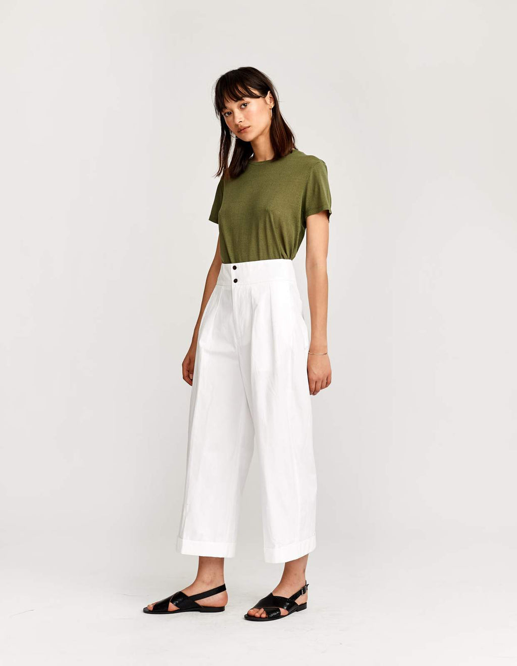 bellerose vincent white cotton flared pants madress