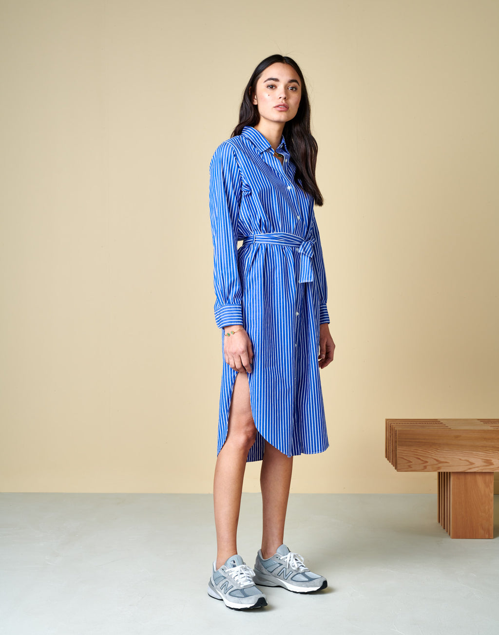 Bellerose GEORGES DRESS striped blue white shirt dress madress