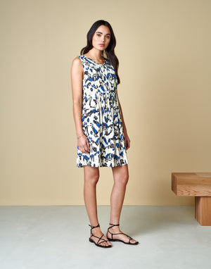 Bellerose HOOR DRESS viscose summer white blue print madress