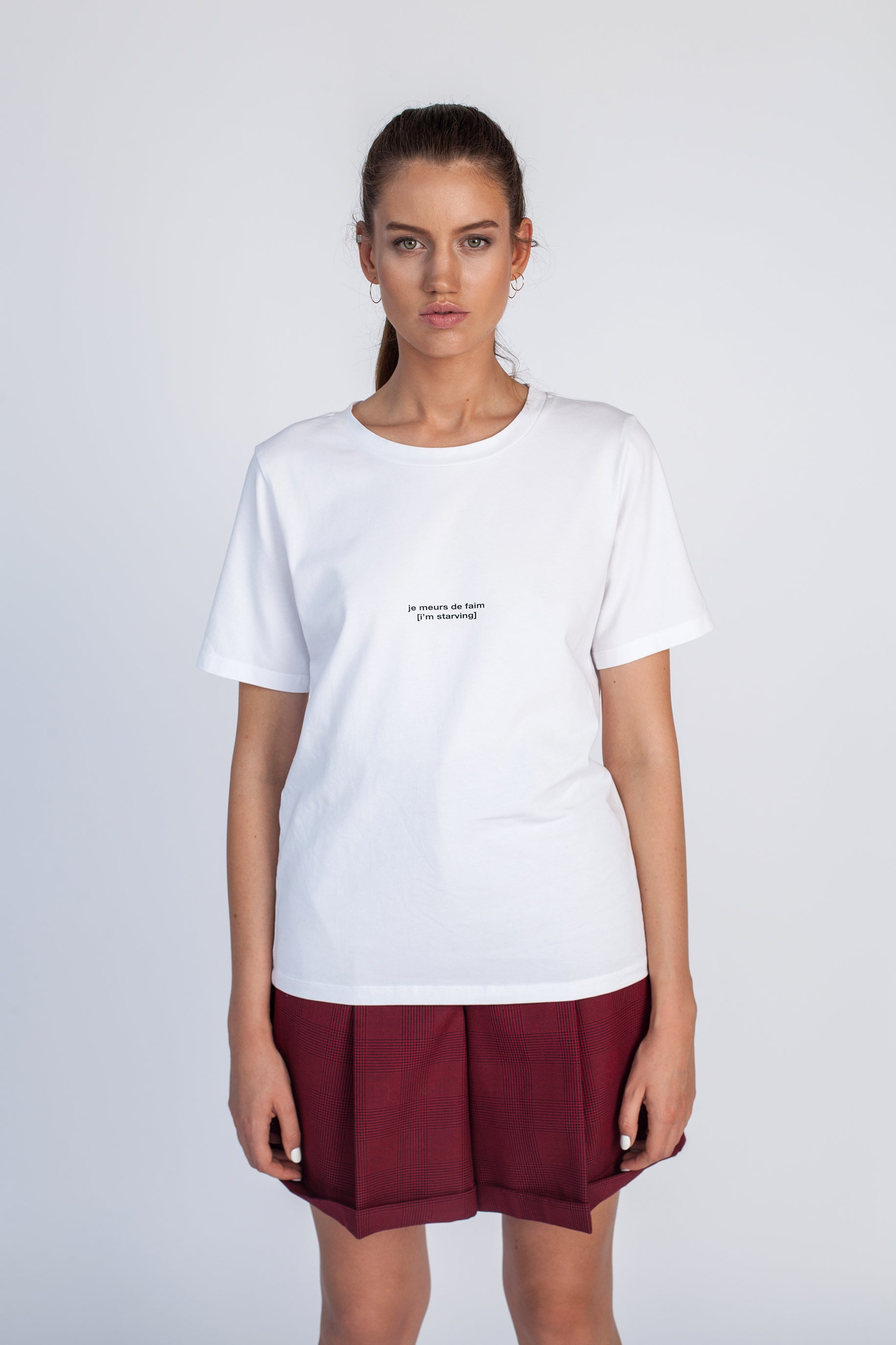 Le SLAP white cotton unisex oversized Starving t-shirt madress