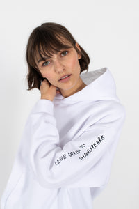 le slap white cotton hoodie oversized embroidered quote madress