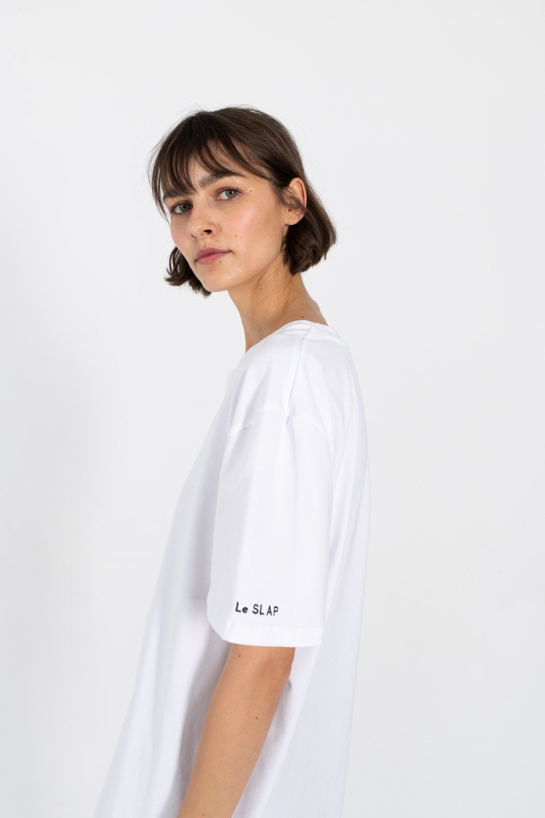 Le SLAP white oversize unisex cotton logo t-shirt