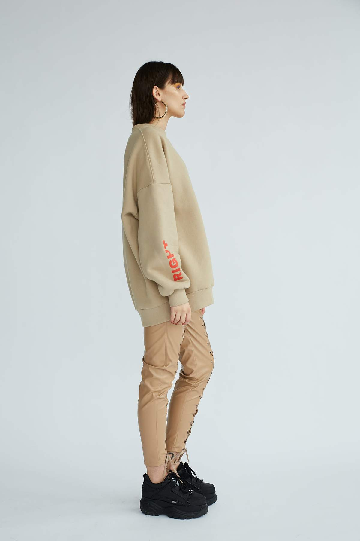 Le SLAP | SECRET LOVER Nude lace-up skinny pants
