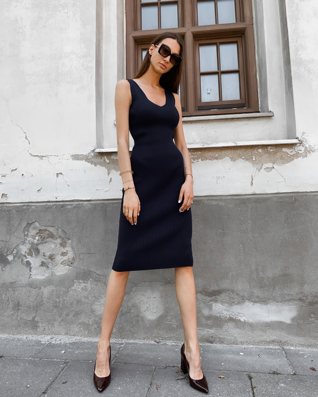 Andrè Maurice | Bodycon Midi Dark Blue Dress