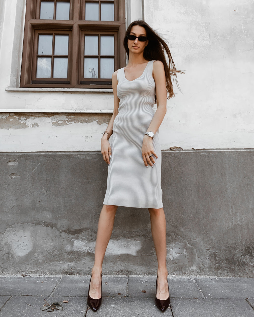 Andrè Maurice | Bodycon Midi Sand Dress