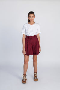 Le SLAP  Burgundy wool oversized tailoring shorts madress