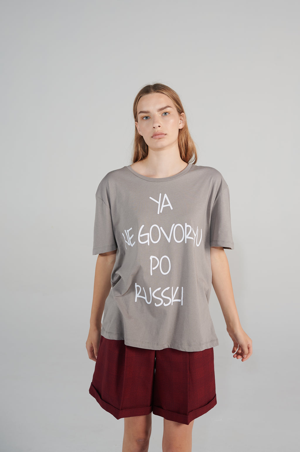 Le SLAP RUSSKI grey organic cotton t-shirt madress