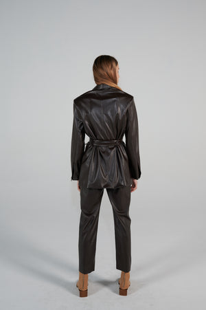 Le SLAP | Brown eco leather jacket with belt