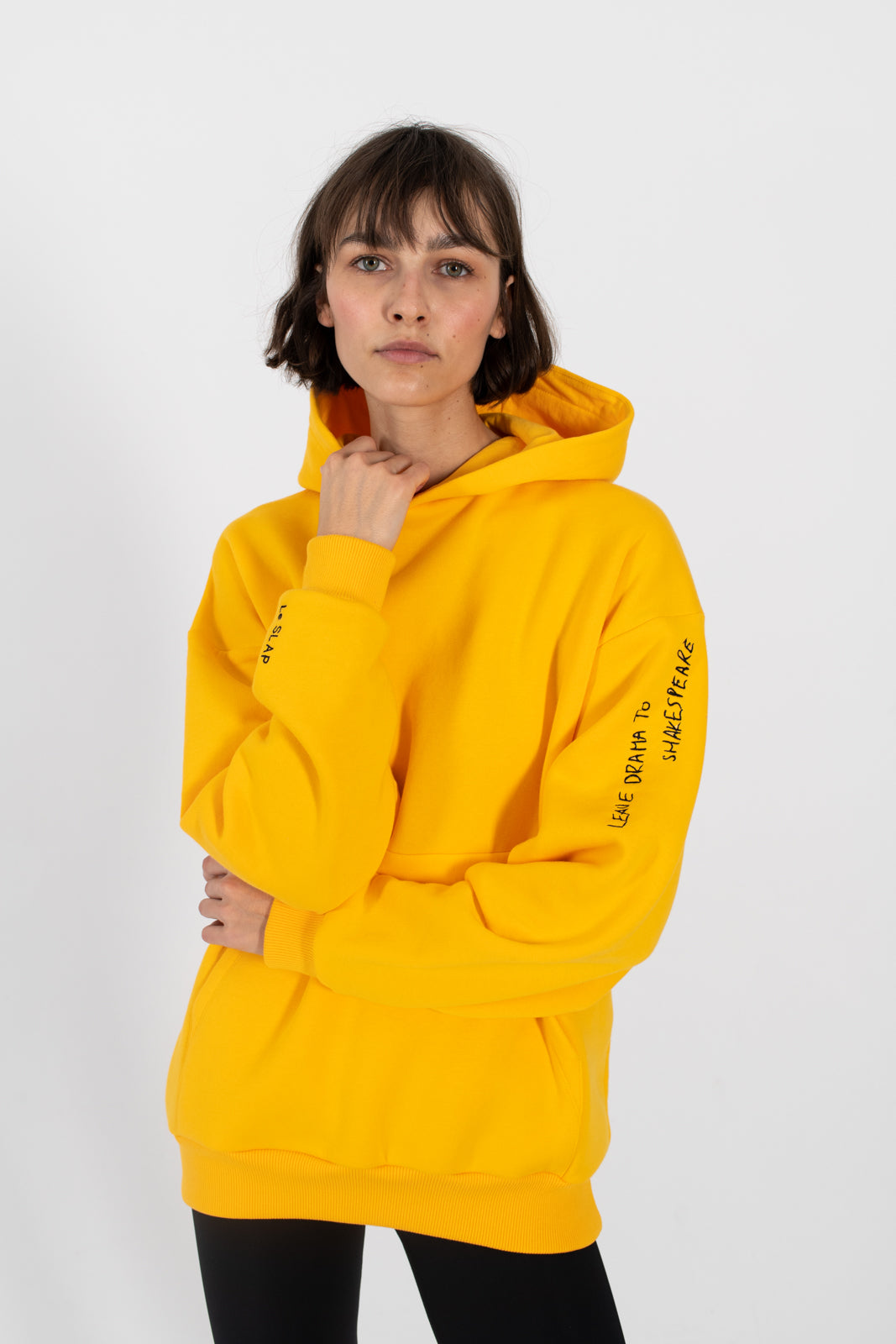 le slap yellow cotton hoodie oversized embroidered quote madress