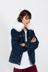 le slap dark blue denim oversize jacket white fox fur attachable madress