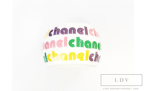 RARE! Authentic CHANEL White Bangle Bracelet with Candy Colored Logos