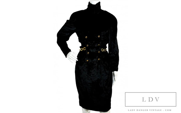 Vintage CHANEL Boutique Black Velvet Turtleneck Long Sleeve Dress