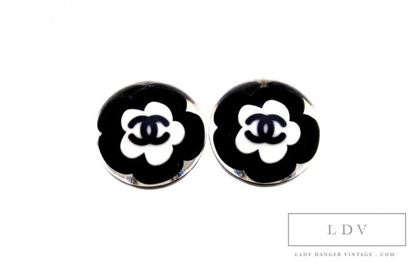 Vintage CHANEL Camellia Flower Lucite Earrings *seen on Willow Shields*