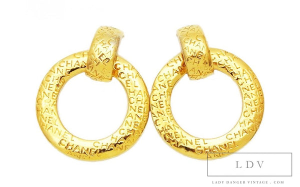 CHANEL Vintage Stamped Dangle Hoop Earrings