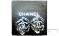 Chanel Camellia Flower Crystal Earrings with CC Logo