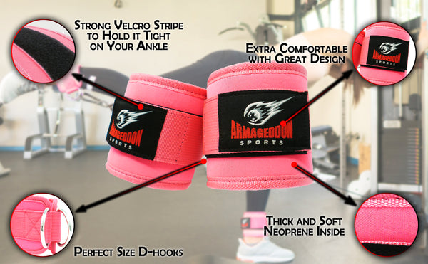 Pair of Quality Ankle Straps Double D-Rings For Cable Machines Attachment by Armageddon Sports