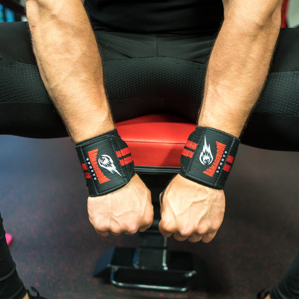 Best Wrist Wraps Support Bench Powerlifting Gym Lifting Black/Red