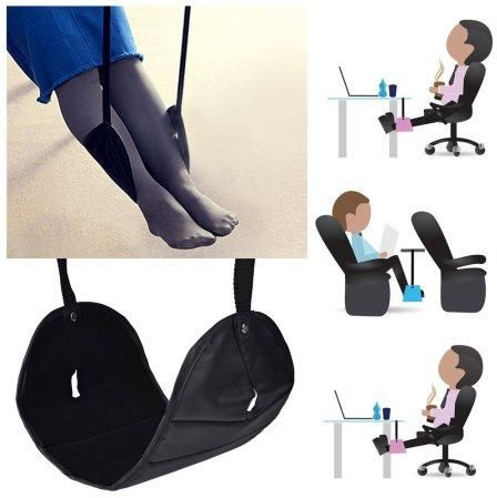 Foot Rest Hammock Office Desk Travel Airplane Feet Relax Portable Inside Indoor