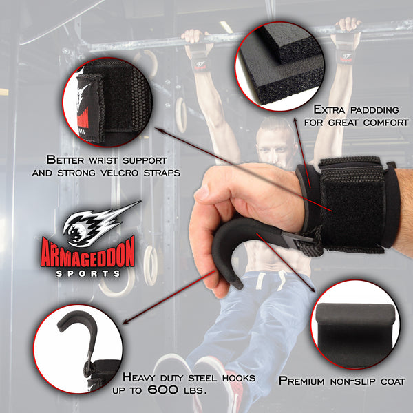 weight lifting straps steel hooks deadlift