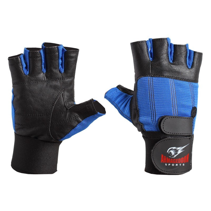 Premium Weight Lifting Gloves Blue Leather with Wrist Support by Armageddon Sports - Armageddon Sports