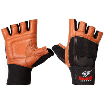 Premium Weight Lifting Gloves Brown Leather with Wrist Support by Armageddon Sports - Armageddon Sports