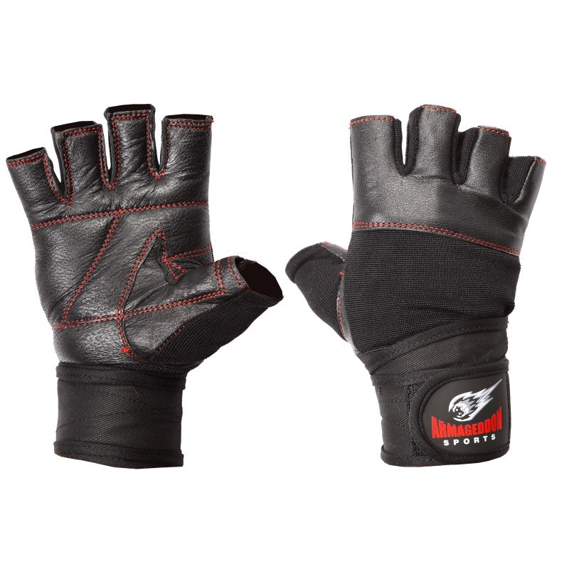 Premium Weight Lifting Gloves Leather Black Red Line with Wrist Support by Armageddon Sports - Armageddon Sports
