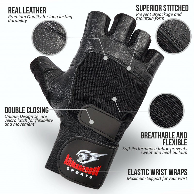 Weight Lifting Gloves GYM Fitness  Body Building Training Leather Wrist Support