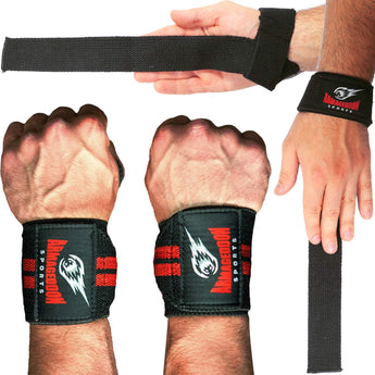 Bundle of Premium Wrist Weightlifting Straps Pair + Wrist Wraps Pair - Armageddon Sports