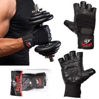 Premium Weight Lifting Gloves Leather Black with Wrist Support by Armageddon Sports - Armageddon Sports