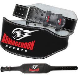 Weight Lifting Belt 6 Inch Genuine Leather Padded Gym Belt Premium Quality by Armageddon Sports - Armageddon Sports