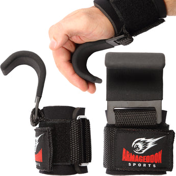 Weightlifting Power Lifting Wrist Hooks Straps for Full Back Workout by Armageddon Sports - Armageddon Sports