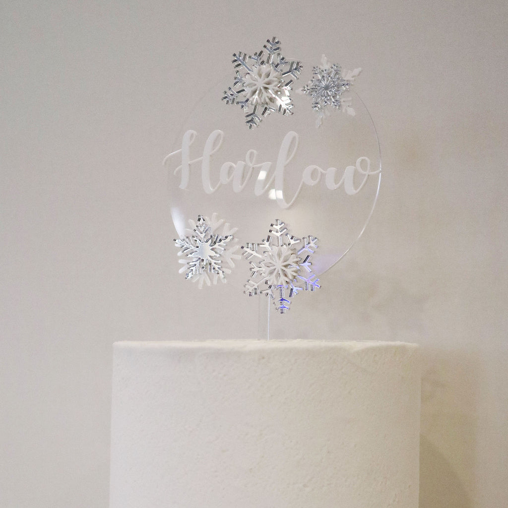 Elsa Snow Flake 3D Layered Cake Topper