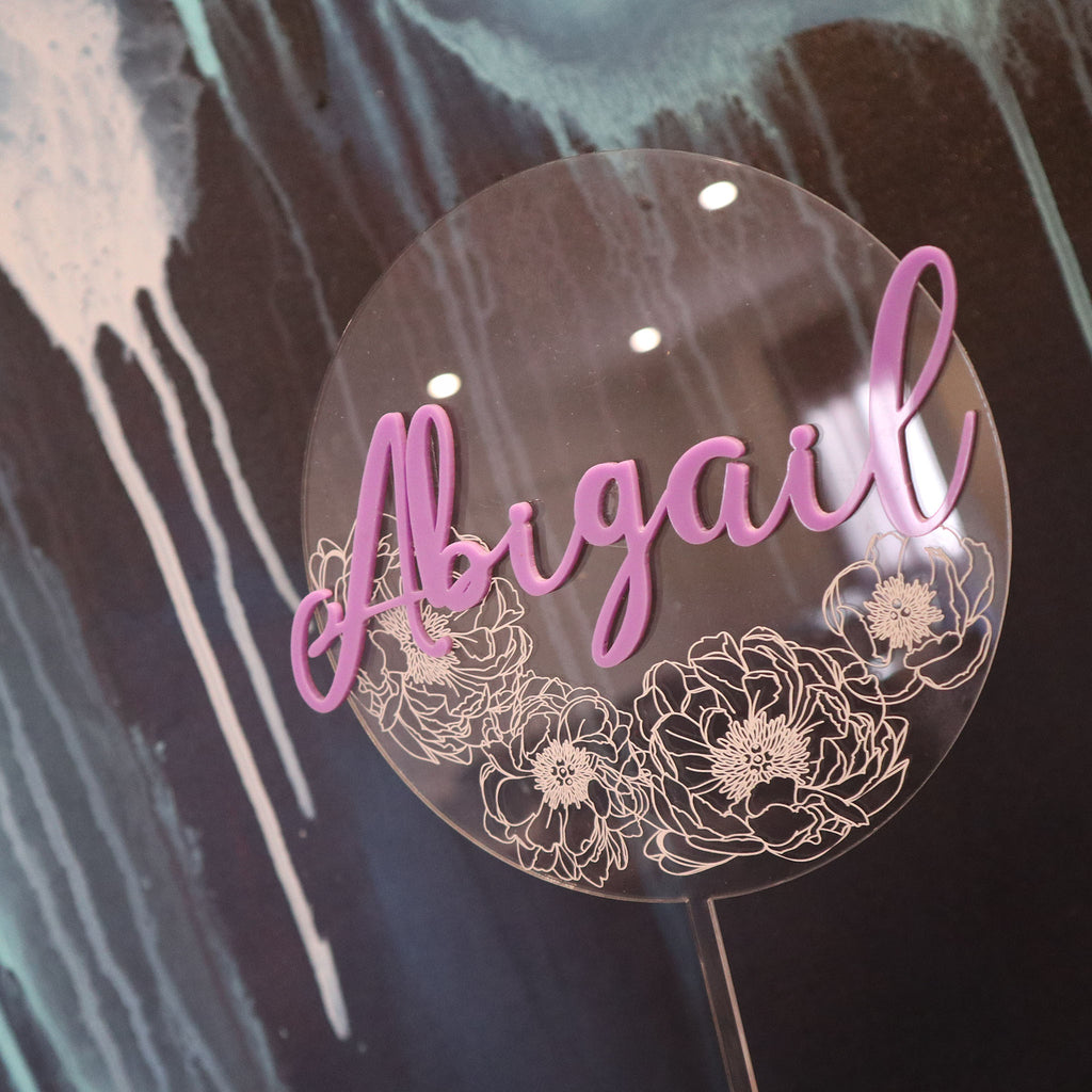 Floral Etched 3D Name Layered Circle
