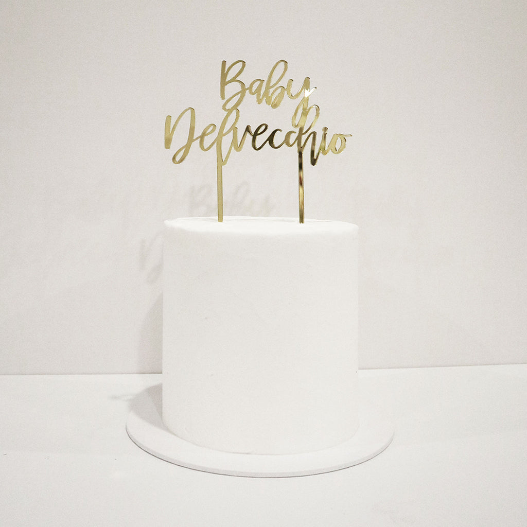 Peppy Script Baby Shower Cake Topper