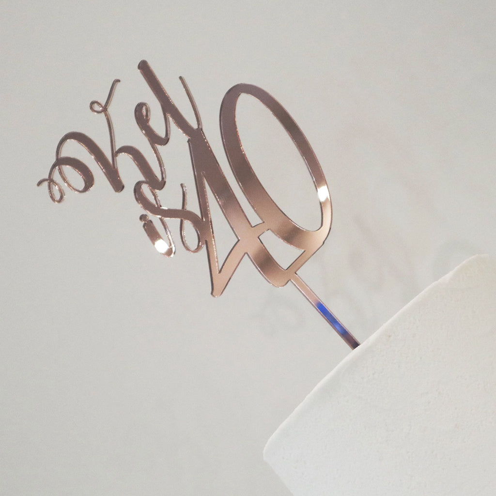 Curly Name & Age Cake Topper