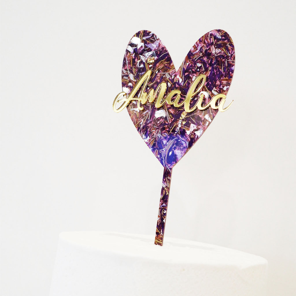 Slim Heart Scripted Name 3D Layered